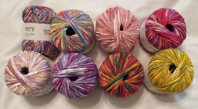 Nylon Knitting Ribbon : Crystal palace party bulky nylon ribbon yarn in great