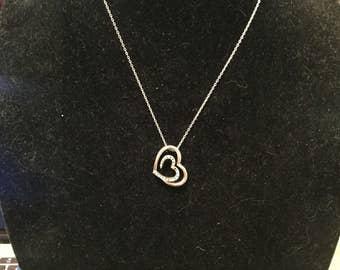 Vintage 1980s Silver Diamond Necklace Imitation Tiffanys Elsa Pendant