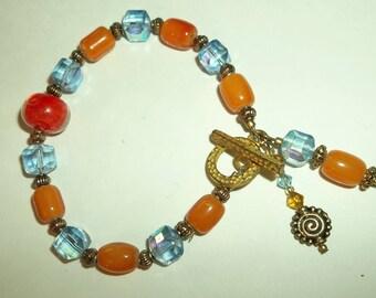 Blue AB Crystal  Glass  Amber Beaded Charm Toggle Bracelet