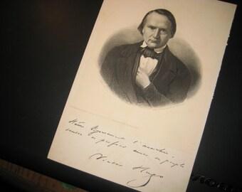 VICTOR HUGO- SIGNED Engraving