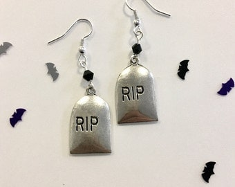 RIP gravestove gothic earrings tombstone