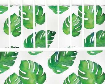 Tropical Watercolor Palm Flat Panel Skirt | Palms, Tropical, Flat Panel Crib Skirt | Palm Inspired Crib Bedding Set | Watercolor Nursery