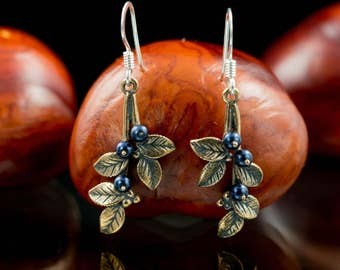 BLUEBERRIES BRONZE EARRINGS with blue Swarovski Crystal Forest Fruit Jewellery Jewelry Made Czech Original Nature Pagan Blueberry Blue Berry