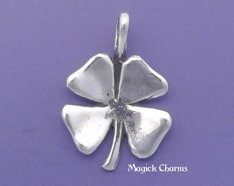 Four Leaf CLOVER Charm .925 Sterling Silver Irish Shamrock Good Luck Pendant - lp47