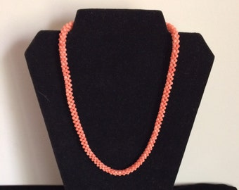 Beautiful vintage coral beaded necklace