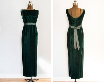 1960s Velvet Column Dress in Emerald Green Size Small
