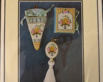 Sweet Harmony Needlework Accessories ~ Needlebook, Scissor FOB, Scissor Sheath Kit