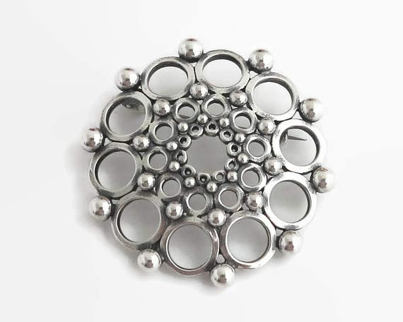 Large sterling silver modernist brooch, Scandinavian, rows of circles, open metal work and solid sterling balls, 1980s, 18 grams
