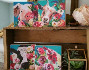 Floral farm animal artwork - PRINTS of original paintings on WOOD - farmhouse decor - SET of 4 - four sizes available