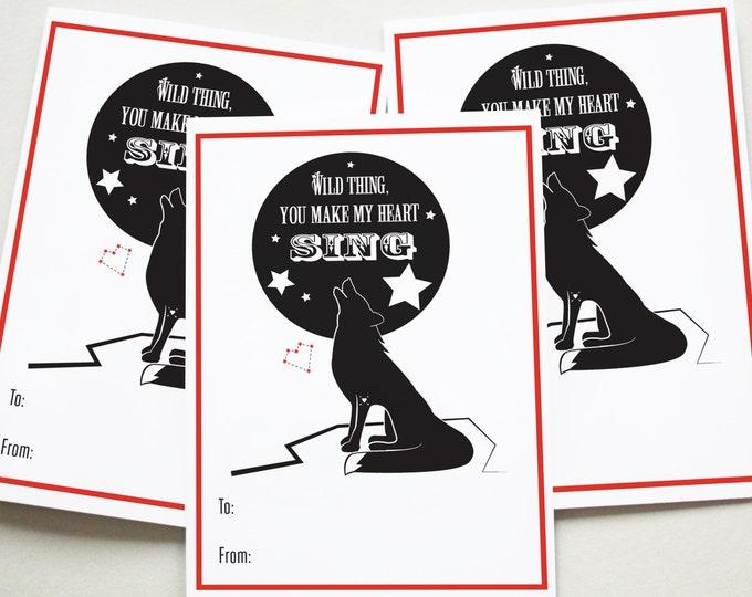 Printable, Valentine Printables, Valentine's Day, Valentine, Printable, Wild Thing, I love you