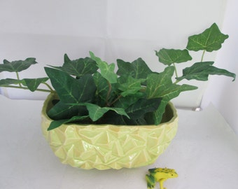 USA Made Pale Yellow-Green Rock Rectangular Window Box Planter Plant Pot green planter rock planter rock look planter yellow green planter