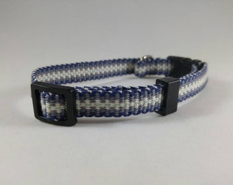 Handwoven adjustable cat collar with breakaway safety buckle, Blue, Gray, and Cream; Optional tag
