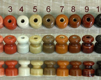 Colored Porcelain insulators, ceramic isolators for twisted vintage cable