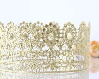 Harper Unisex Crown for Girls or Boys - First Birthday full size crown - adult - toddler - photo prop - cake smash - Honey Gold