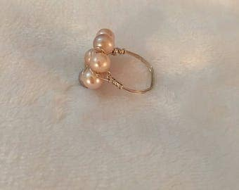 Pink freshwater pearl ring size 10