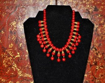 Vintage Thermostat Egyptian Revival  Necklace in Cherry Red and Brass Hardware