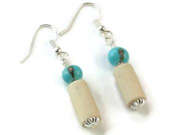 Handmade Wooden Earrings, Handmade Dangle Earrings, earrings wood, acai beads earrings, turquoise earrings, natural turquoise earrings