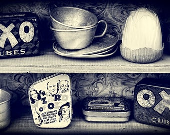 Still life photography, black and white, vintage style print, kitchen wall art, monochromatic, original fine art print - Oxo tins