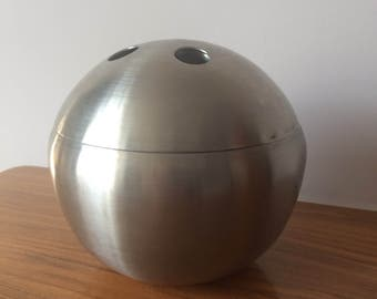 Vintage CHROME BALL Mid Century ice bucket SILVER 1970's Aluminium Barware Party mcm  party Cooler Retro