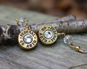 Bullet jewelry, Dangle Bullet earrings, 45 caliber brass bullet casing dangle earrings with clear Swarovski crystals, redneck jewelry