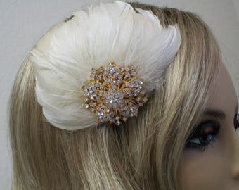 Champagne Bridal Hair clip, Great Gatsby, Feather Fascinator, Bridal headpiece, Feather Hair clip, Rhinestone Fascinator,
