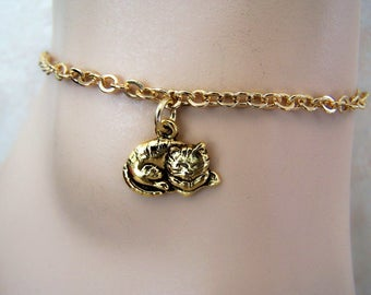 Anklet, Gold Cat Charm Ankle Bracelet, Petite to Plus Size