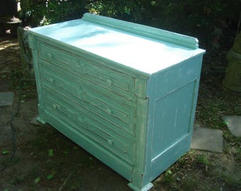 antique painted blue dresser / antique painted eastlake dresser / cottage dresser /hidden drawer dresser