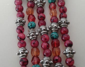Beaded necklace Pink beads Silver tone beads Turquoise beads Amber beads 17 inch