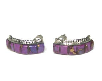 Vintage Southwestern Mohave Purple Turquoise Earrings