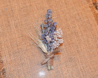 Wedding Boutonniere, Lavender Boutonniere, Blue Boutonniere - Can Be Custom Made to Order