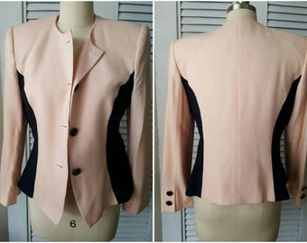 BL1130 Vintage Women's Kasper ASL Blush and Navy Suit/Skirt sz10