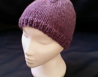 Hand Knitted Adult Sized purple Chunky Knit Hat