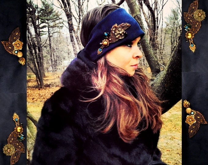 Featured listing image: THE WINTER HEADBAND by Gilded-Mane : Embellished Faux-Suede w/ Comfort Stretch, Navy