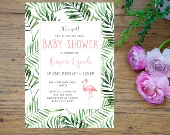 tropical baby shower | etsy, Baby shower invitations