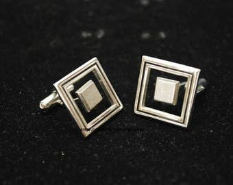 Vintage Floating Squares Silver Tone Cuff Links