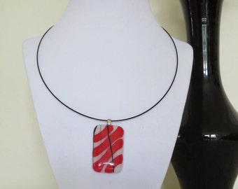 Red, White, and Black Striped Fused Glass Pendant w/optional Choker