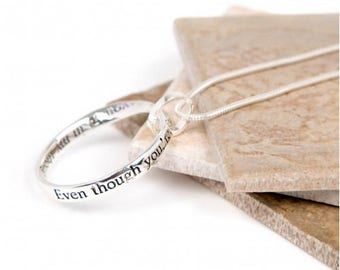 Message slogan necklace perfect gift (Even though you're far away....you're in my thoughts every day...)-Friendship Necklace