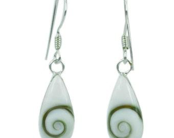 Shivaauge Silver earrings tear 15 mm narrow earrings 925 Silver Shiva eye eye (art. Nr. OSH-106b)