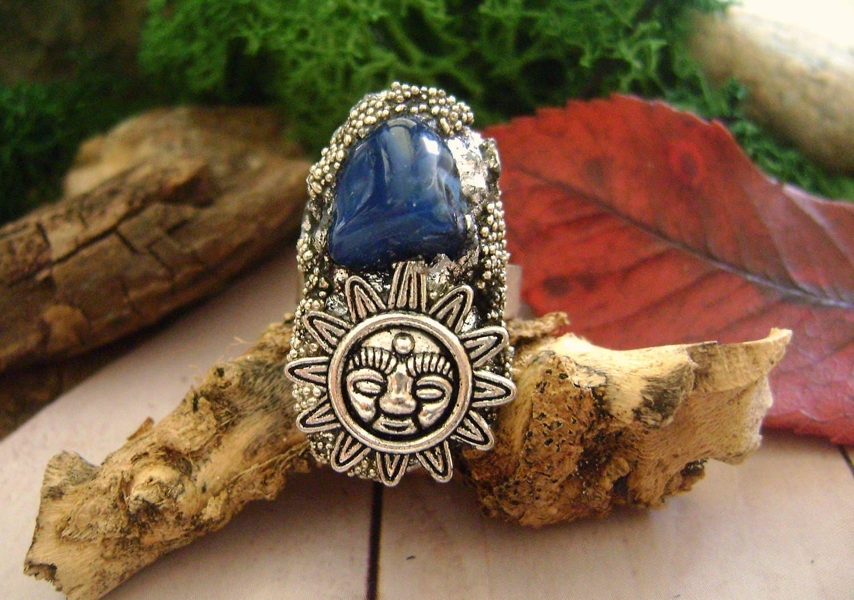 Raw Organic Crystal Ring adjustable Ring blue aventurine