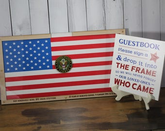 Personalized Guest Book/Flag/Army/Patriotic/Large/Military/Retirement/Heart Drop Guest Book/Wood Shapes/Alternative/Unique/Book Frame