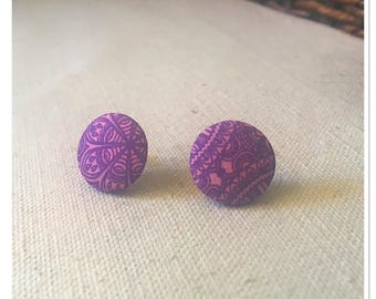 Indigo Pattern Fabric Covered Button Post Earrings