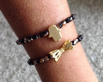 Swarovski hamsa charm bracelet, hamsa beaded bracelet, Angel charm bracelet, simple bracelet