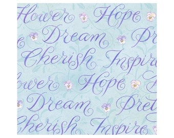 Pretty Words - Blue 1014-11 by Henry Glass Cotton Fabric Yardage
