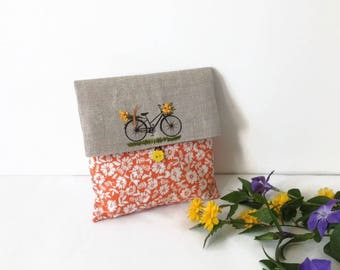 Clutch Bag, Orange foldover Clutch, Cosmetic Bag, Wedding Clutch, Favor Bag, Flower Clutch Bag, Cosmetic  Storage, Make up Bag, gift for her