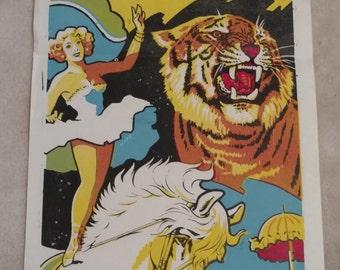 International All Star Animal Clown Rare Circus Show Poster