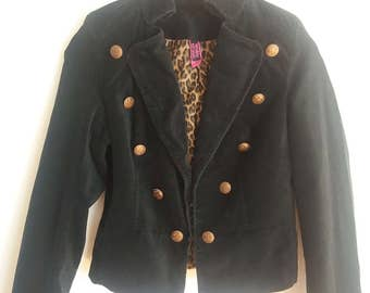 Vintage Woman Velvet Black Military Style Blazer Medium/Large Size