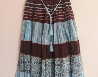 Vintage 80s Gypsy Hippie Bohemian Tier Skirt Size Small