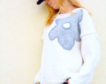 Knitted  pullover for women, White knitted sweater, hand knitted sweater with  gray flower, M size pullover, womens clothing
