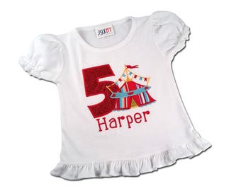 Girl's Circus Birthday Shirt with Stripe Tent, Number and Name