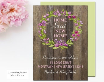 The Floral Wreath Moving Announcement - Set of 25 Moving Announcements - New Home - Personalized